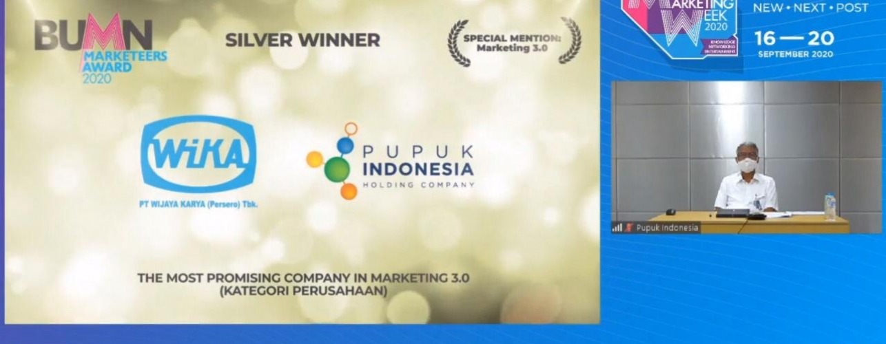 PUPUK INDONESIA RAIH PENGHARGAAN 'THE MOST PROMISING COMPANY MARKETING 3.0'